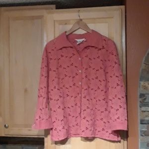 Fresh Produce Pink Floral Print 3/4 Sleeve Top